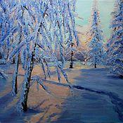 Картины и панно handmade. Livemaster - original item Oil painting. Landscape Frosty morning.. Handmade.