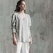 Одежда handmade. Livemaster - original item Women`s striped knitted sweatshirt. Handmade.