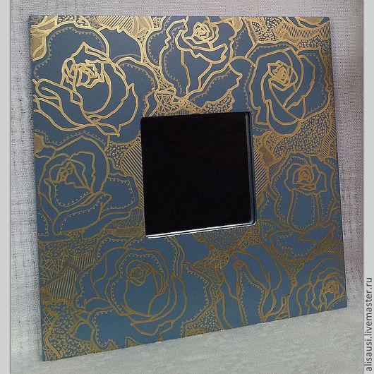 """Зеркала ручной работы. Ярмарка Мастеров - ручная работа. Купить """"Золотые розы"""". Handmade. Морская волна, розы, золотой контур"""