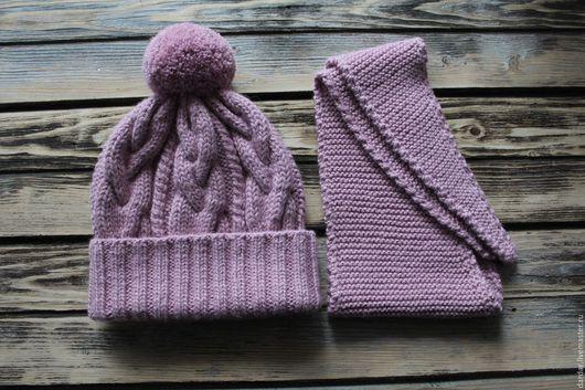 Шапки и шарфы ручной работы. Ярмарка Мастеров - ручная работа. Купить Вязаный зимний комплект для девочки. Handmade. Розовый