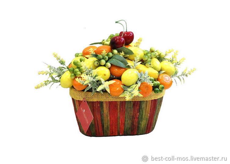Интерьерные композиции ручной работы. Ярмарка Мастеров - ручная работа. Купить Композиция  Лимоны и мандарины  К18-362. Handmade. Цветы
