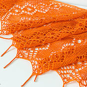 Аксессуары ручной работы. Ярмарка Мастеров - ручная работа Оранжевая шаль с бисером. Handmade.