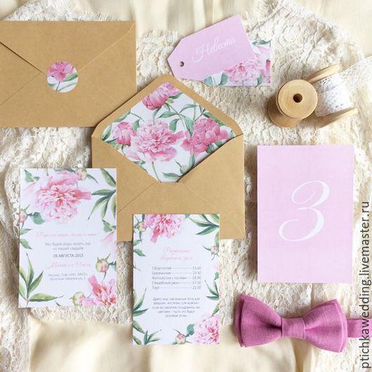 Свадебные аксессуары ручной работы. Ярмарка Мастеров - ручная работа. Купить Акварельные цветочные свадебные приглашения Розовые пионы. Handmade.