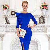 Одежда ручной работы. Ярмарка Мастеров - ручная работа Платье футляр с воланом, отделка в стиле А-ля Русс. Handmade.
