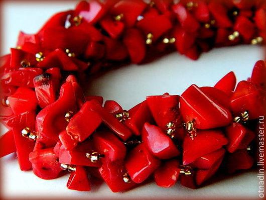 """Колье, бусы ручной работы. Ярмарка Мастеров - ручная работа. Купить Колье из кораллов """"Экспрессия"""". Handmade. Ярко-красный"""