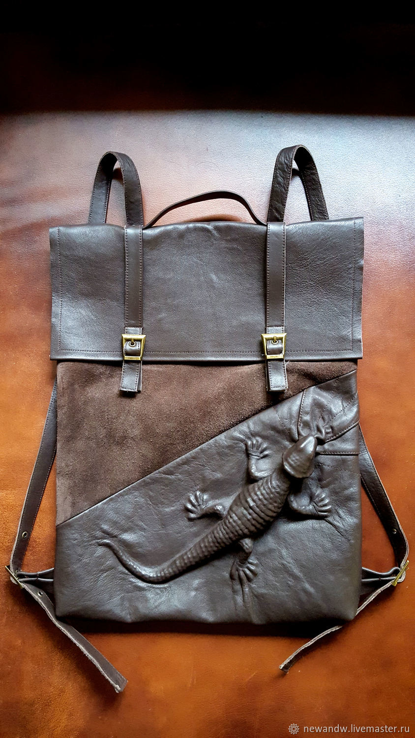3D Lizard Backpack made of brown leather and suede, Backpacks, Moscow,  Фото №1