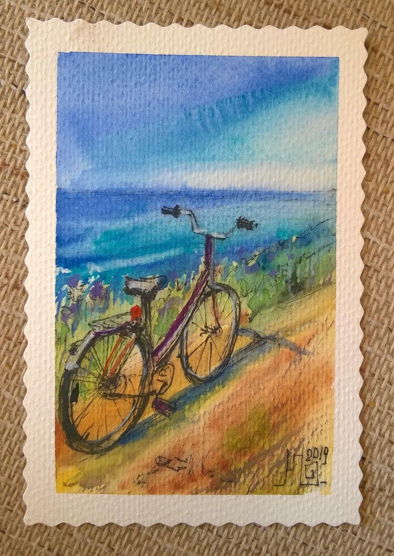 Акварельная открытка Каникулы на море, Абстракция, Зеленоград, Фото №1