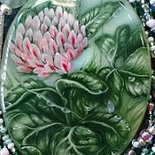 Украшения handmade. Livemaster - original item Mother of pearl pendant with painted quatrefoil (Clover for good luck).. Handmade.