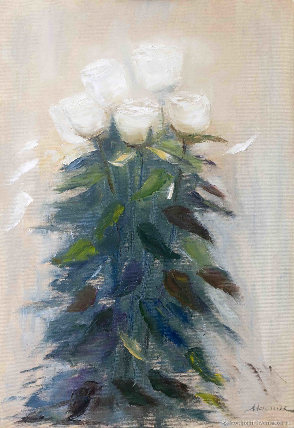 Painting 'White Roses' 45h65 oil painting, Pictures, Moscow,  Фото №1