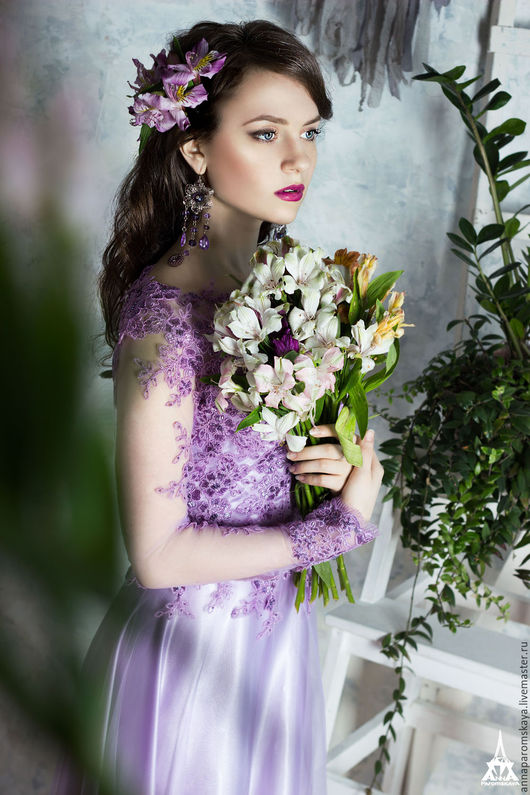 Платья ручной работы. Ярмарка Мастеров - ручная работа. Купить Лиловое платье. Handmade. Бледно-сиреневый, свадебное платье