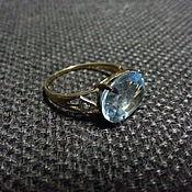 Кольцо Золото ГОЛУБОЙ ТОПАЗ, Бриллиантики 17-17,5