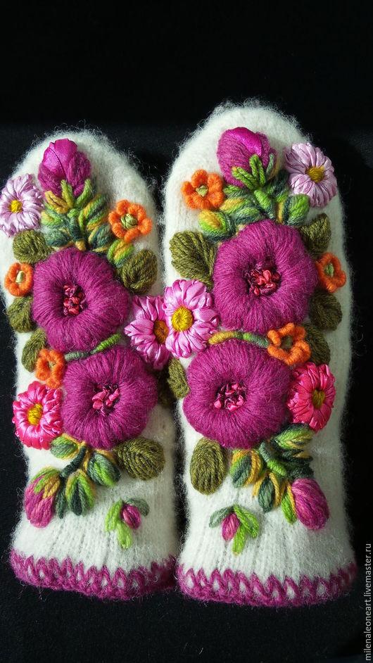 Варежки, митенки, перчатки ручной работы. Ярмарка Мастеров - ручная работа. Купить Варежки с объемной вышивкой  Огоньки. Handmade.