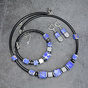 Украшения handmade. Livemaster - original item Set of natural variscite and hematite. Necklace, bracelet and earrings. Handmade.