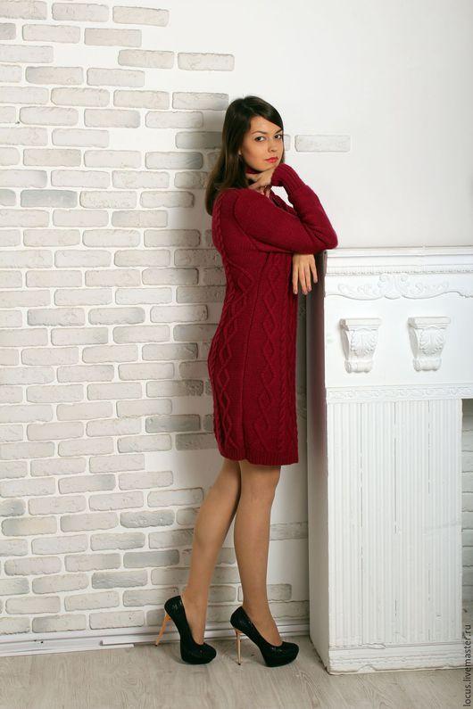 Платья ручной работы. Ярмарка Мастеров - ручная работа. Купить Зимнее платье спицами. Handmade. Фуксия, платье вязаное