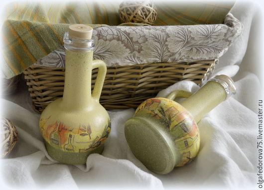 """Кухня ручной работы. Ярмарка Мастеров - ручная работа. Купить Набор бутылок """"OLIVE OIL"""". Handmade. Декупаж, для кухни"""