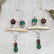 Украшения handmade. Livemaster - original item Long Boho earrings with mother-of-pearl and chrysoprase