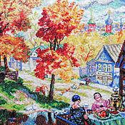 Картины и панно ручной работы. Ярмарка Мастеров - ручная работа Осень в провинции, вышитая картина, репродукция Кустодиев, город. Handmade.