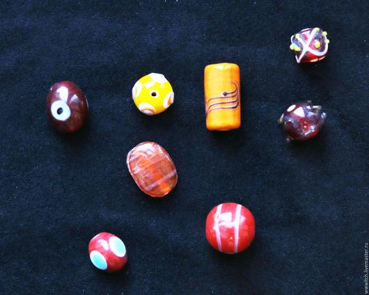 Бусины ручной работы из муранского стекла, желтый, красный, коричневый и другие цвета, разные формы и размеры, италия, материалы для украшений