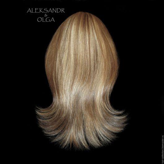 НАКЛАДКА затылочная - L - для Волос  на заколках - постиж - 45 см. Эффект контрастного мелирования.