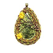 Украшения handmade. Livemaster - original item pendant, pendant natural stone decoration crimson summer embroidery. Handmade.