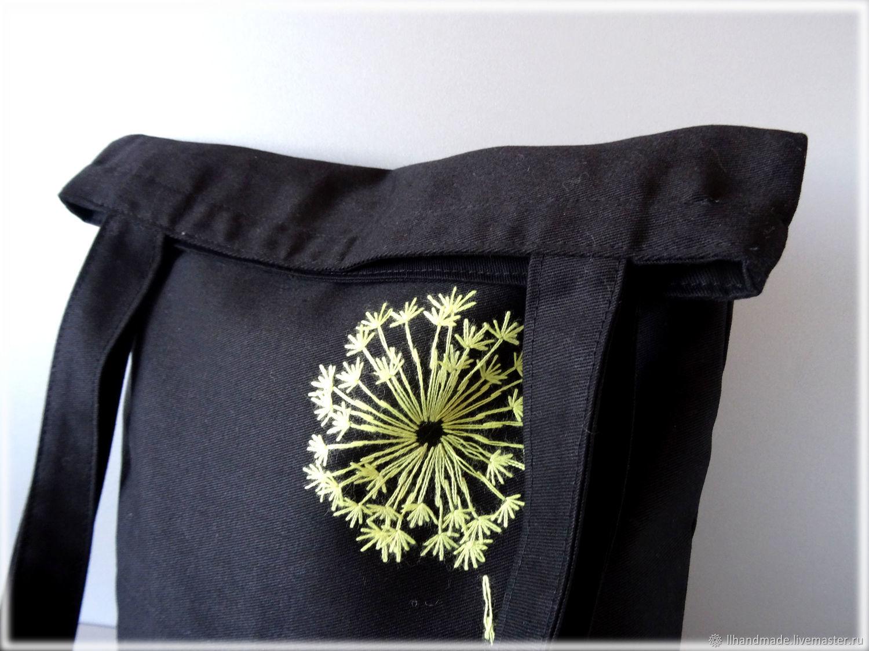 """Эко-сумка """"Одуванчик"""" - черная сумка, авоська, вышитая сумка"""