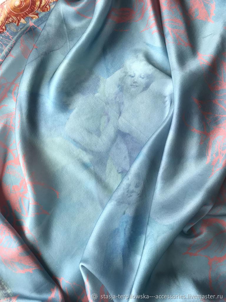 Cupid and Psyche silk shawl natural silk satin blue, Shawls1, St. Petersburg,  Фото №1