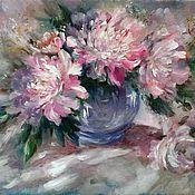 Картины ручной работы. Ярмарка Мастеров - ручная работа Картина Пионы в синей вазе. Handmade.