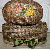 Для дома и интерьера ручной работы. Ярмарка Мастеров - ручная работа Шкатулка из газетной лозы. Handmade.