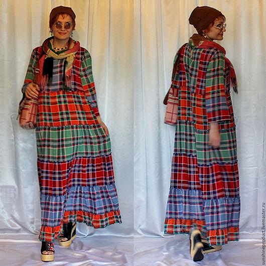 """Платья ручной работы. Ярмарка Мастеров - ручная работа. Купить платье """"Лучик Солнца"""". Handmade. Комбинированный, бохо, платье свободное"""