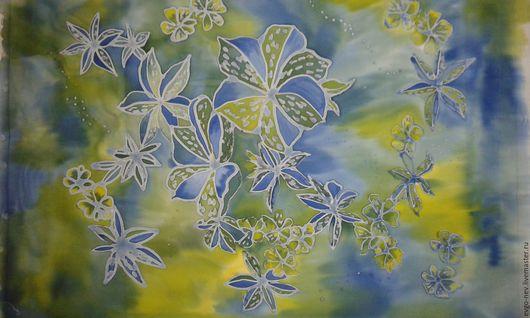 """Картины цветов ручной работы. Ярмарка Мастеров - ручная работа. Купить Батик """"Цветы"""". Handmade. Синий, желтый, Батик"""