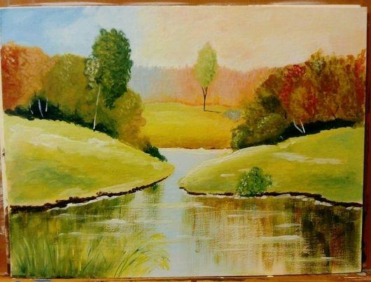 """Пейзаж ручной работы. Ярмарка Мастеров - ручная работа. Купить Картина """"Золотая осень"""". Handmade. Пейзаж, осень, лак акриловый"""