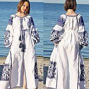 Одежда handmade. Livemaster - original item Linen embroidered dress Embroidery Long dress. Handmade.