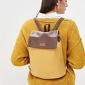 """Рюкзаки ручной работы. Ярмарка Мастеров - ручная работа Рюкзак на завязках из экокожи """"Basic"""" желтый, коричневый. Handmade."""
