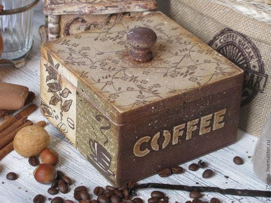 """Корзины, коробы ручной работы. Ярмарка Мастеров - ручная работа. Купить """" Coffee..."""" Короб.. Handmade. Бежевый"""