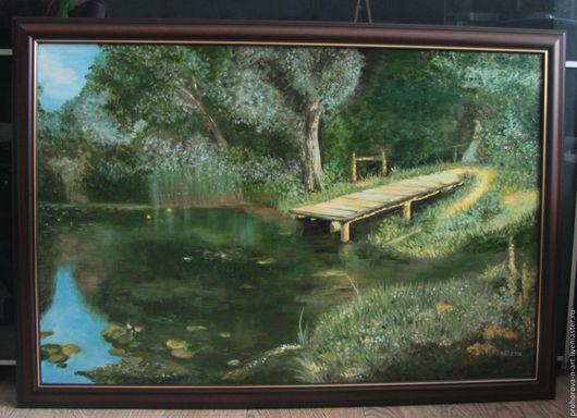 """Пейзаж ручной работы. Ярмарка Мастеров - ручная работа. Купить Картина маслом """"Заросший пруд"""". Handmade. Тёмно-зелёный"""