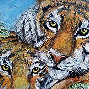 """Картины и панно ручной работы. Ярмарка Мастеров - ручная работа """"Тигры"""" модульная картина. Handmade."""