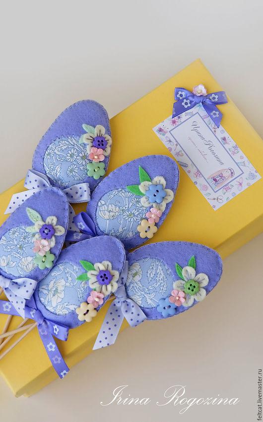 Подарки на Пасху ручной работы. Ярмарка Мастеров - ручная работа. Купить Пасхальные украшения яйца (набор). Handmade. Сиреневый