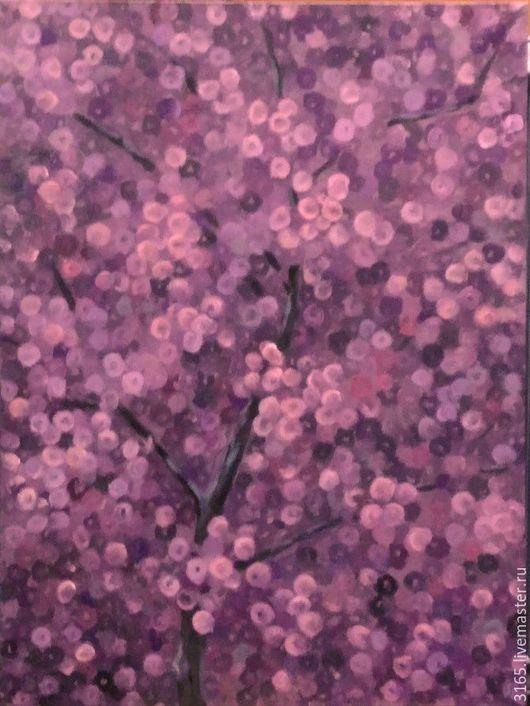 """Картины цветов ручной работы. Ярмарка Мастеров - ручная работа. Купить Картина """"Вечернее цветение абрикоса"""" Диптих. Handmade. Бордовый"""