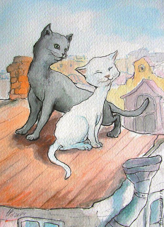 Валентинки ручной работы. Ярмарка Мастеров - ручная работа. Купить Открытка Влюблённые коты. Handmade. Животные картины, набор открыток