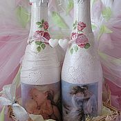 Свадебный салон ручной работы. Ярмарка Мастеров - ручная работа Свадебный декор бутылок. Handmade.