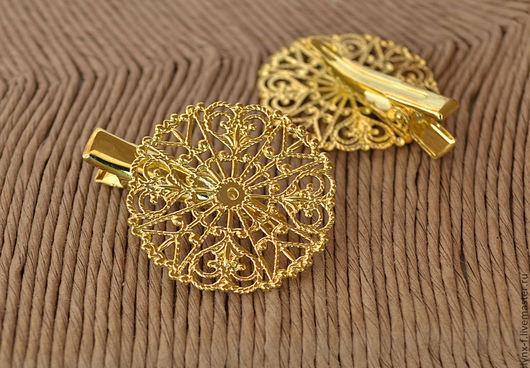 Для украшений ручной работы. Ярмарка Мастеров - ручная работа. Купить Основа для заколки зажим Круг, золото. Handmade.