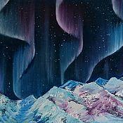 """Картины и панно ручной работы. Ярмарка Мастеров - ручная работа Картина маслом """"Встреча с северным сиянием"""", авторская, картина пейзаж. Handmade."""
