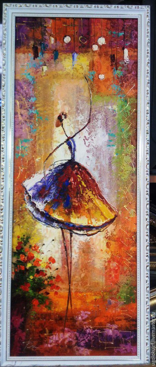 Абстракция ручной работы. Ярмарка Мастеров - ручная работа. Купить Картина рисованная маслом Балерины, в багете 85х35см. Handmade. Комбинированный