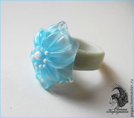 """Кольца ручной работы. Ярмарка Мастеров - ручная работа. Купить Кольцо """"Нежно-голубое"""". Handmade. Голубой, кольцо с цветами"""