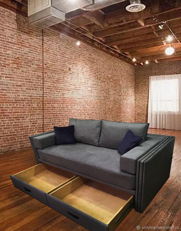 Мебель ручной работы. Ярмарка Мастеров - ручная работа. Купить Диван-кровать в стиле ЛОФТ. Handmade. Кожа, диван, кровать