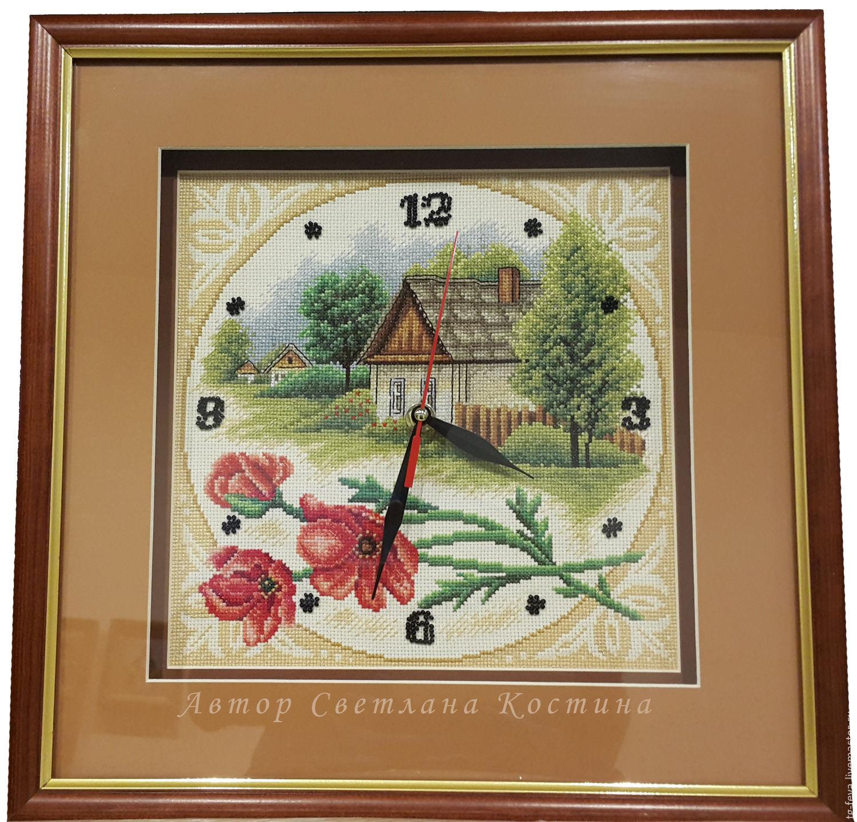 Часы домик вышивка
