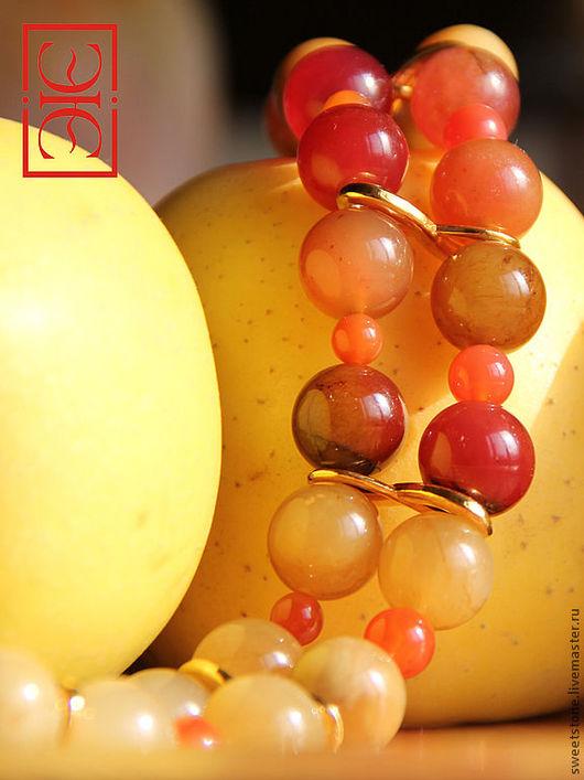 """Колье, бусы ручной работы. Ярмарка Мастеров - ручная работа. Купить Колье """"Райские яблоки"""". Handmade. Рыжий, живописное колье"""