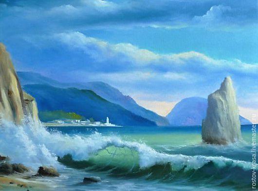 """Пейзаж ручной работы. Ярмарка Мастеров - ручная работа. Купить Картина 2 из триптиха """"Море"""". Handmade. Картина интерьерная, пейзаж"""