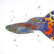 Картины и панно handmade. Livemaster - original item Watercolour Guppy. Handmade.