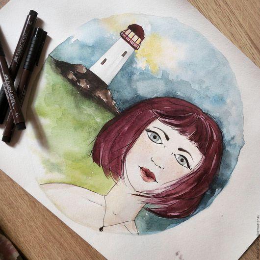 Люди, ручной работы. Ярмарка Мастеров - ручная работа. Купить Девочка живет на маяке. Handmade. Комбинированный, девушка, ребенок